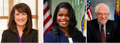 Congressional candidate Marie Newman of La Grange, Cook County State's Attorney Kim Foxx of Flossmoor and Presidential candidate U.S. Sen. Bernie Sanders (I-VT),
