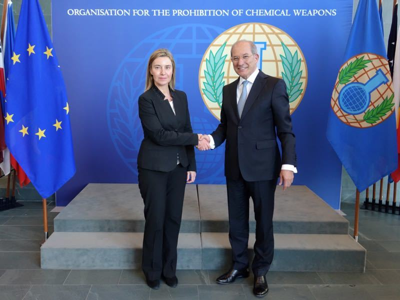 High Representative of the European Union for Foreign Affairs and Security Policy, Ms Federica Mogherini, with the Director-General, Ambassador Ahmet Üzümcü.