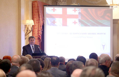 Belarusian Chamber of Commerce and Industry Chairman, Mikhail Myatlikov addresses business leaders in Tbilisi.