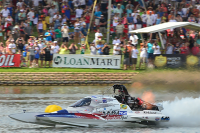 Boats competing at Lakefest can reach speeds of up to 260 mph.
