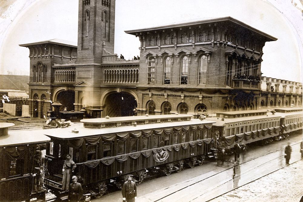 A train carrying the remains of  President Abraham Lincoln arrived in Chicago on May 3, 1865.