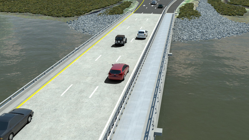 This rendering shows what a proposed conversion of one of the lanes of the T. Legare Brige into a bike lane.