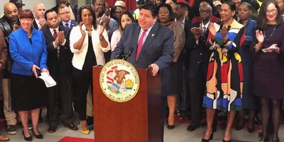 Illinois Gov. J.B. Pritzker at a press conference in May