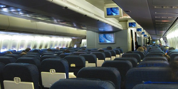 Large united airlines interior cabin boeing747