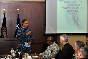 U.S. Navy Adm. Cecil D. Haney (left), U.S. Strategic Command commander, speaks during an Integrated Tactical Warning and Attack Assessment stakeholder's meeting, Peterson Air Force Base, Colo., Feb. 24, 2015.