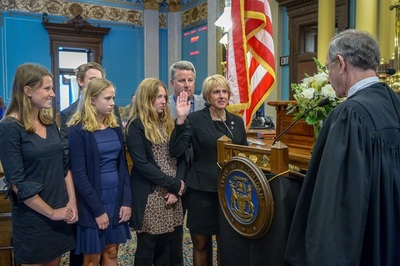 Sen. Kim LaSata (R-Bainbridge Township) at her swearing in ceremony on Jan. 9, 2019.