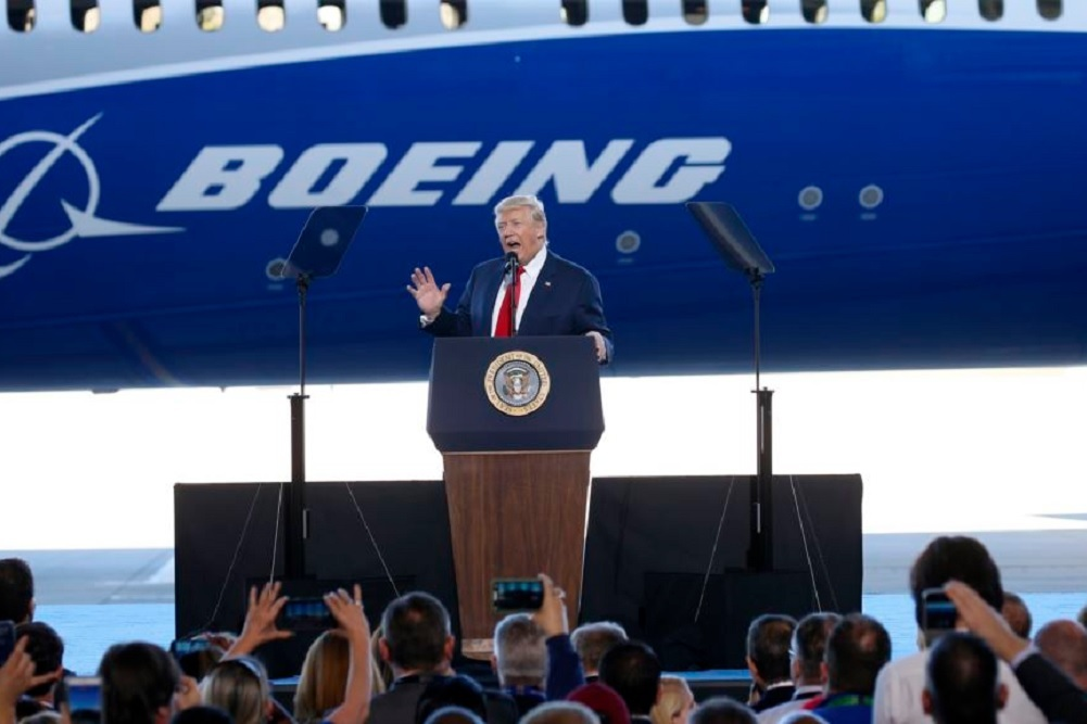 Thousands of employees at Boeing's North Charleston site celebrated the event, along with President Donald Trump.