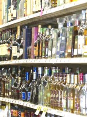 Liquor display glass