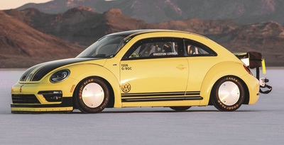 This Volkswagen Beetle went 205.122 mph at the Bonneville Salt Flats in Wendover, Utah recently.