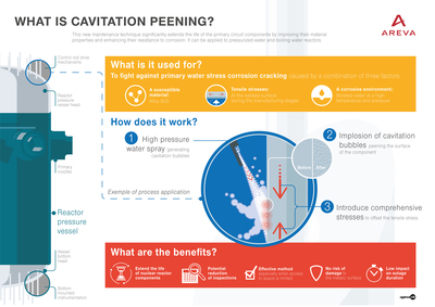 Areva's cavitation peening was selected as the method to increase functionality and lifespan of nuclear reactor components.