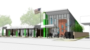 An artist's rendering of Broadview Public Library