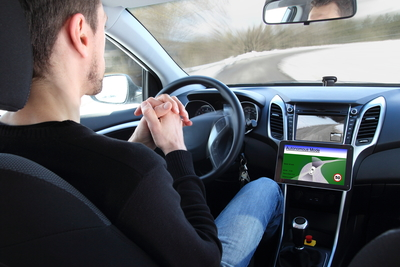 Self-driving cars equipped with vehicle-to-vehicle communication ability may cut down on traffic congestion one day.