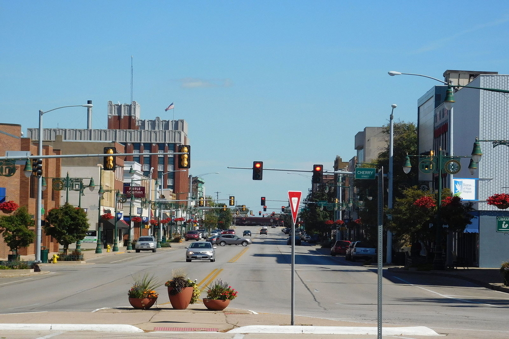 Downtown Galesburg, a city in which residents are projected to experience a $6,573,566 tax increase this year.
