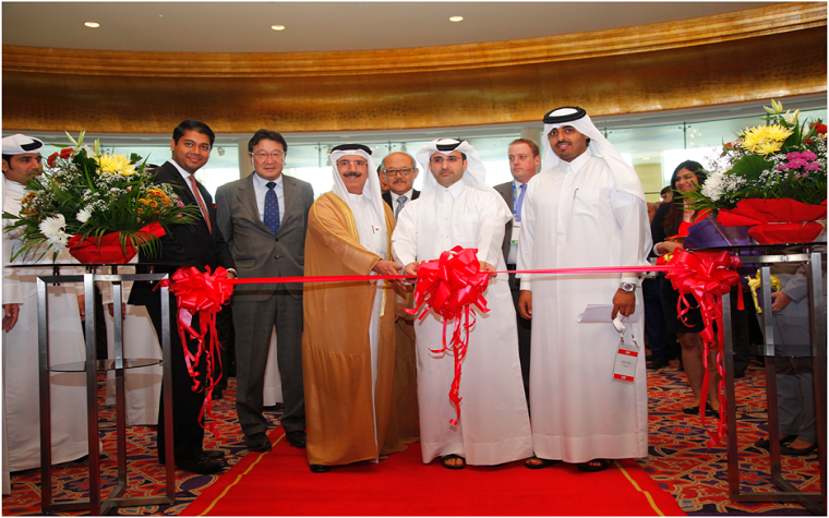 The ribbon cutting ceremony of the Arab Future Cities Summit Qatar 2015 edition.
