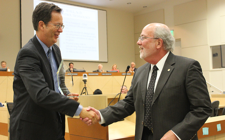 John Wall, right (pictured with Bart Croes, chief of the California Air Resources Board)