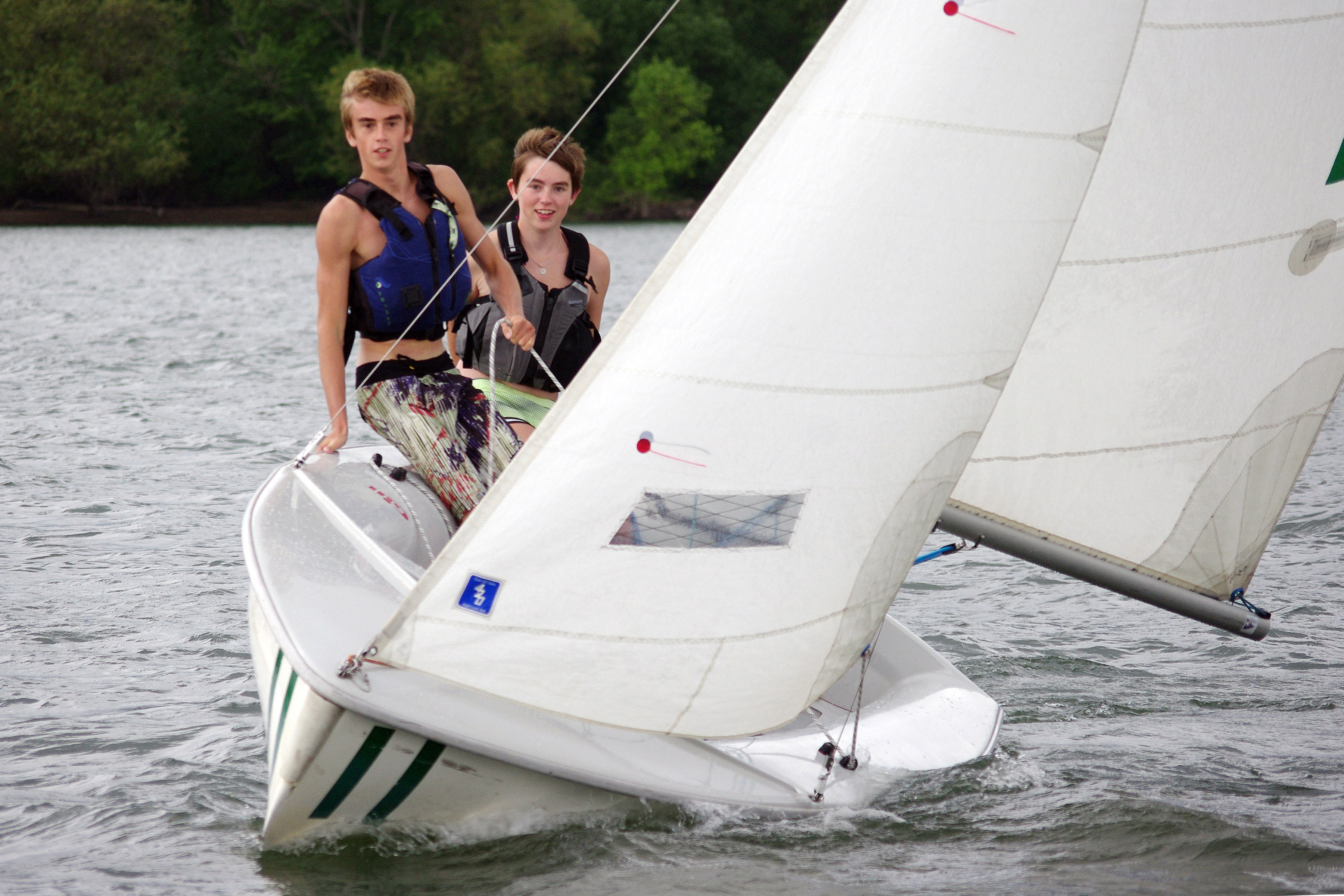 Campers Aike Berger and Austin Sandifer catch some wind during a summer session.
