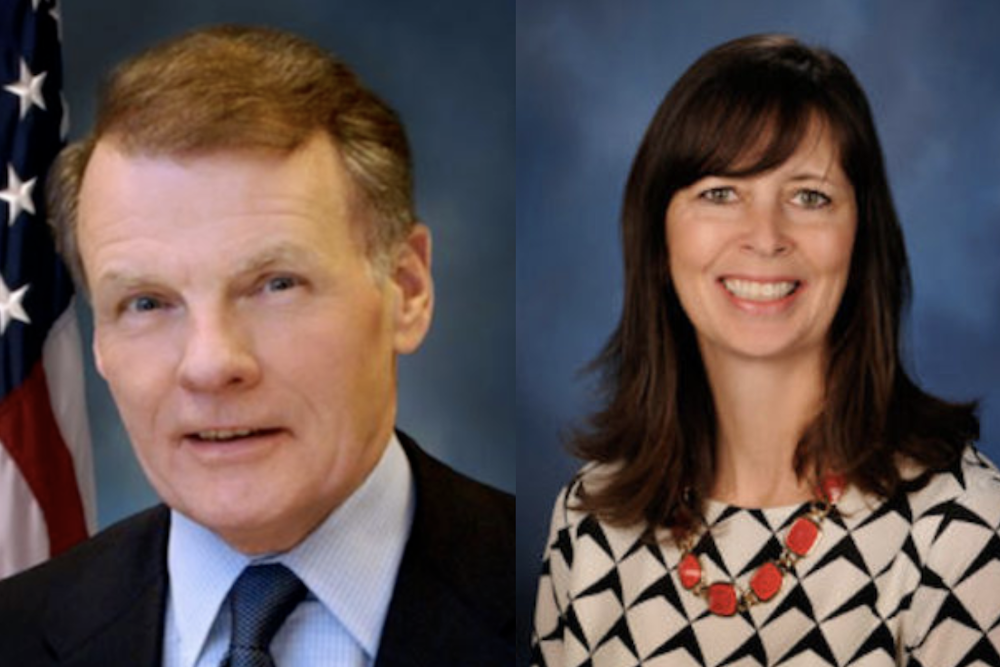 House Speaker Michael Madigan, left, and state Rep. Kelly Burke