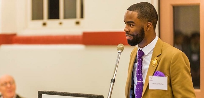Thomas McRae speaks at a D.C. Family & Youth Initiative event for foster and adoptive children and parents in 2015.
