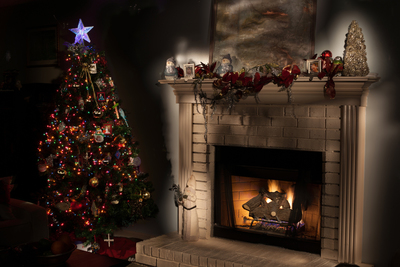 Next to the tree, the mantel is a prominent location for holiday decorations.