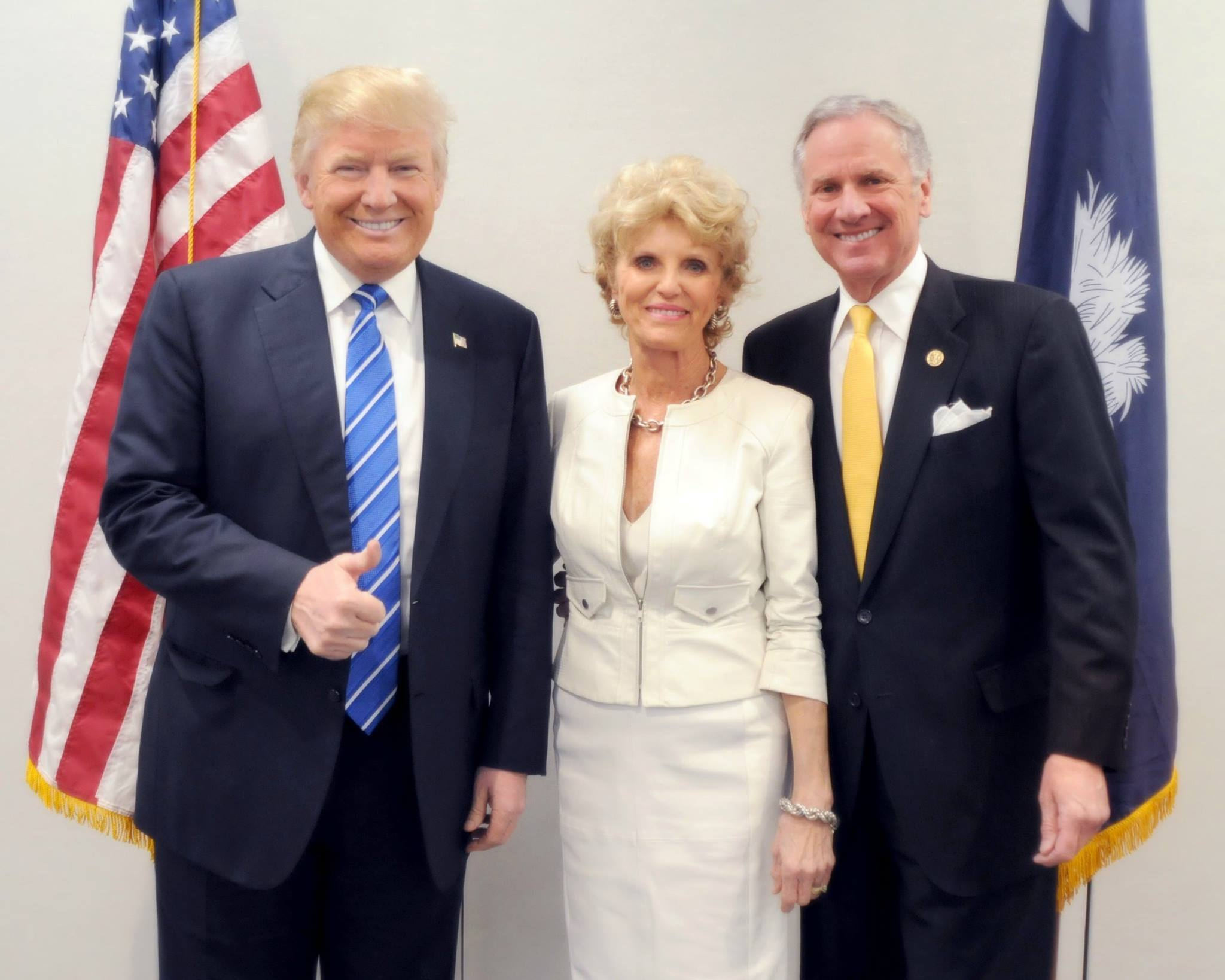 From right: Then-candidate Donald Trump, Peggy McMaster, Gov. (then-Lt. Gov.) Henry McMaster