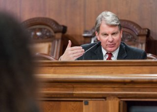 Sen. David Argall hears testimony from the Senate Urban Affairs and Housing Committee hearing.
