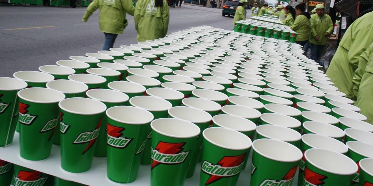Gatorade cups at marathon
