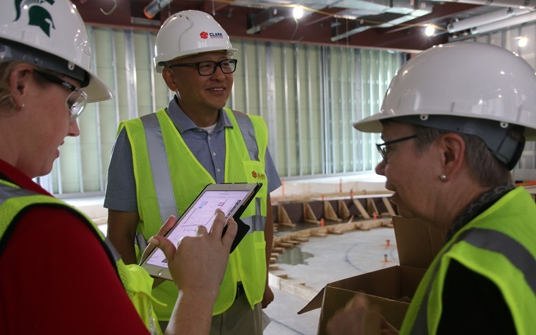 Frank Yang, president of INCODEL Michigan LLC, tours the Business Pavilion. Yang and his family gave a $500,000 gift to the facility, set to open fall 2019.