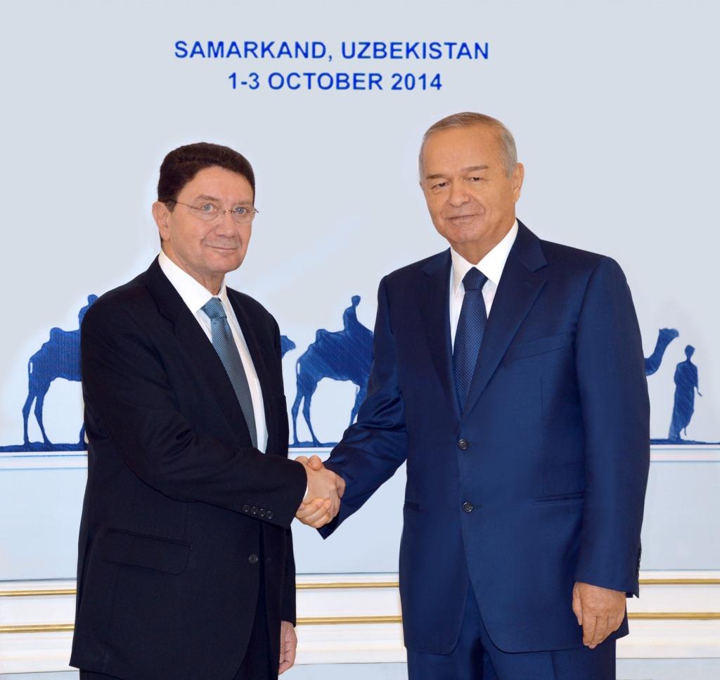 Islam Karimov, left, and Talib Rifai met in Uzbekistan on Friday.