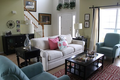 New pillows and other accessories can brighten up a dreary living room.