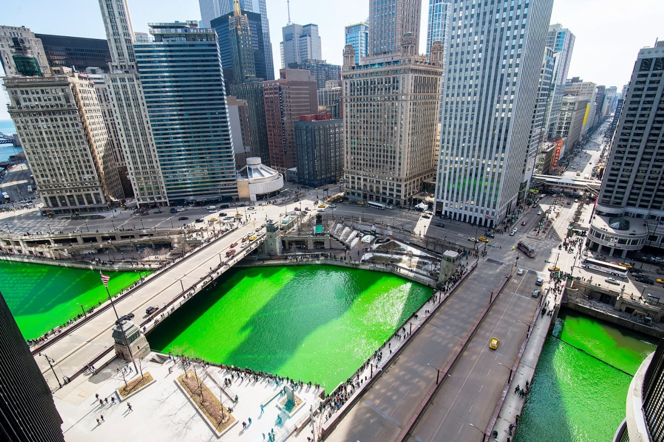 Each year, the Chicago River is dyed green for St. Patrick's Day.