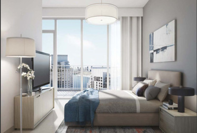A bedroom in the apartment with Central Park view.