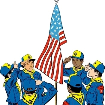 Medium cub scouts saluting flag