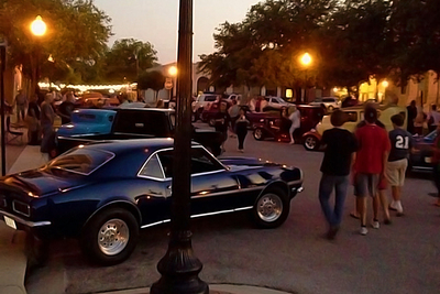 The Rod Hop Cruise held monthly from March to October in Belton continues late into the night and is a social focal point for the downtown area.