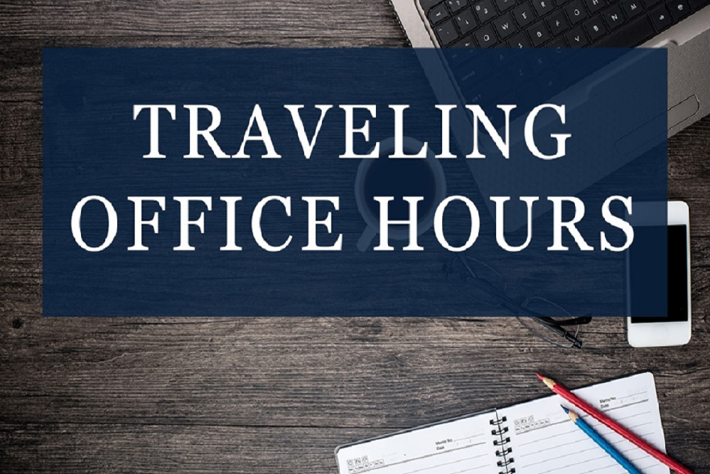 Traveling office hours graphic