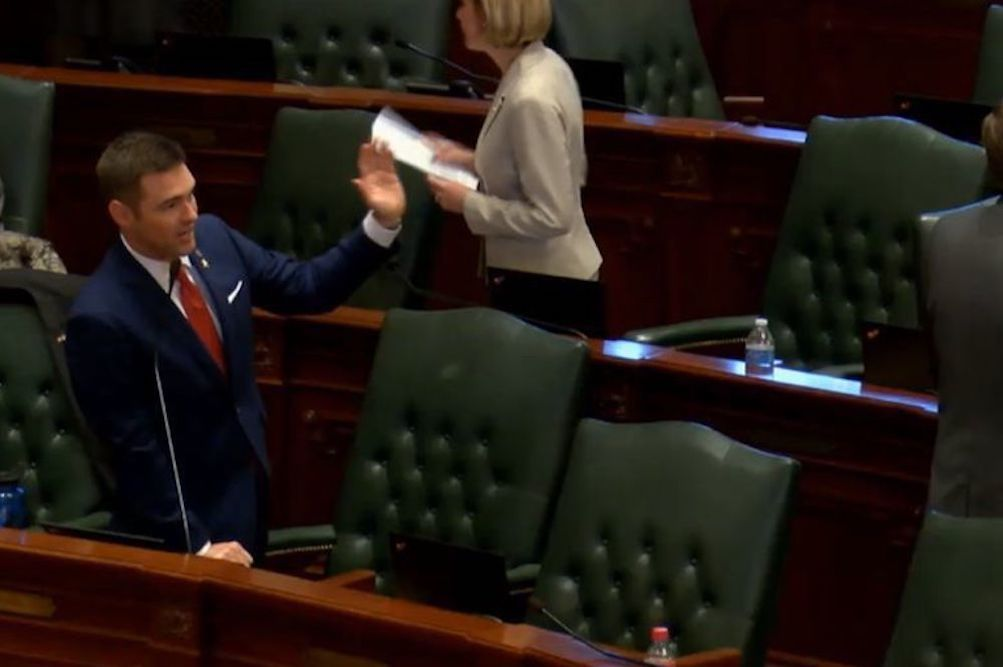 Rep. Nick Sauer (R-Lake Barrington) during the May 29 House floor debate