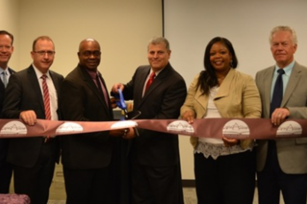 From left, Matt McBurnie; Jeff Hammes, KCC Foundation Board member; Ken Crite, KCC Career Center coordinator; John Avendano, president of KCC; Chasity Wells-Armstrong, mayor of Kankakee; and Dennis Marek