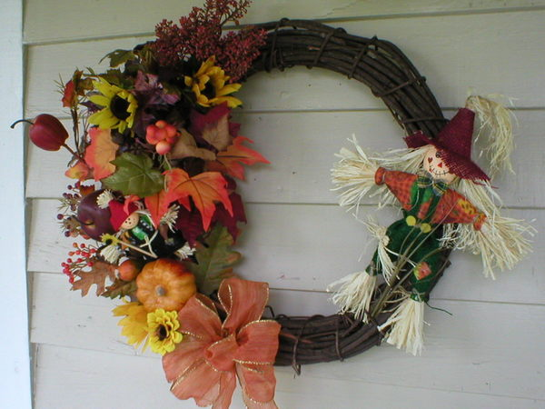 An autumn wreath makes a great door or wall decoration for a porch.