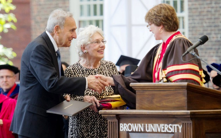 Thomas Catena's parents accepted a doctorate of medical science degree on his behalf.