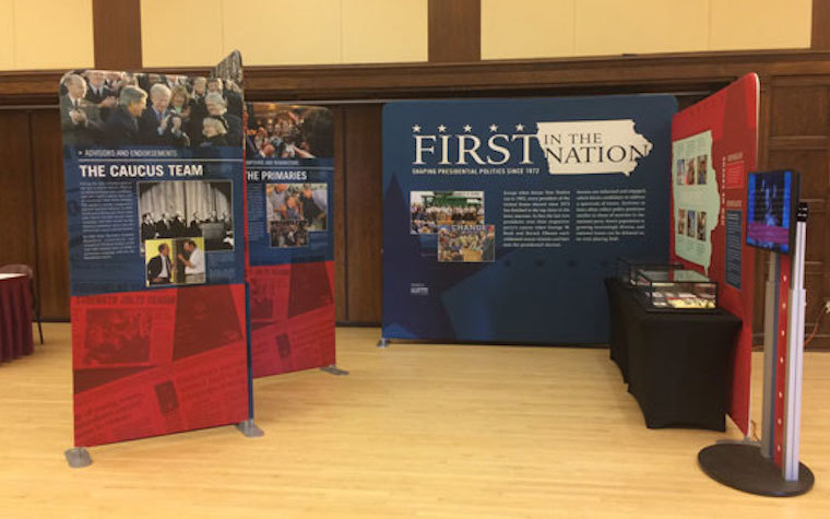 The exhibit explores the unique history of the Iowa caucuses for 40 years.