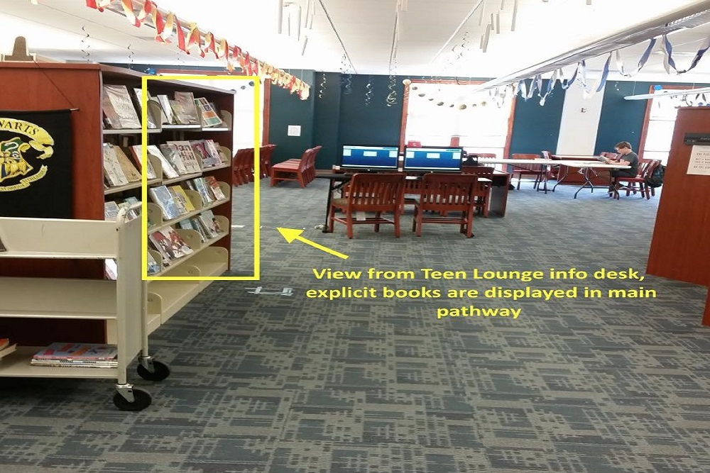 Minde Herbert said she is not arguing that the books should be banned from the library, or even the Teen Lounge, but objected to the initial decision to prominently display them in a central area.