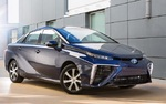 The Toyota Mirai is an all-electric, hydrogen fuel-cell vehicle that runs with no carbon emissions.