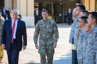 President Donald Trump, Army Gen. Joseph Votel and Army Gen. Raymond Thomas met last week at MacDill Air Force Base in Florida.