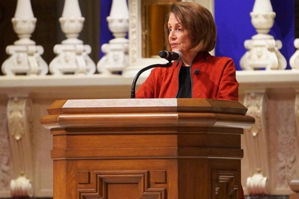 U.S. House Speaker Nancy Pelosi during an interfaith vigil for victims of gun violence in December