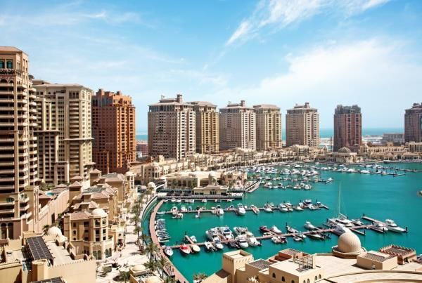 This is one of multiple marina and sea views that you'll get in an available two bedroom apartment at Porto Arabia.
