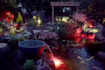 A living pond can help turn a backyard into an enchanting evening setting.