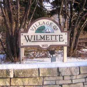 Medium village of wilmette snowy sign