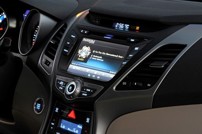 The Hyundai Elantra touts the same infotainment system as the upscale Genesis sedan.