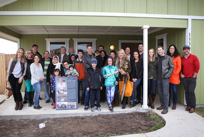 Industry partners and friends who joined Realty Austin and helped build a Habitat for Humanity house for the Saied Beriji family include David Tandy, Gracy Title; Ryan Leahy, Leahy Lending; Max and Dana Leaman, Prime Lending; Independence Title; Josh Jord