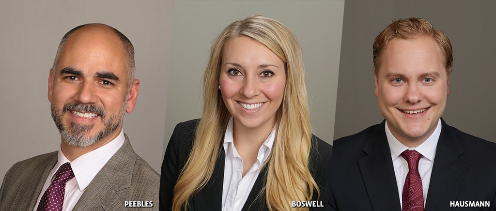 Scott Peebles, Brittany Boswell and Jared Hausmann are the company's new hires.