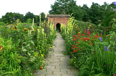 A garden path can be made from a variety of materials.